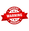 warning ribbon warning round red sign warning vector image vector image