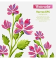 Watercolor flowers invitation pattern with ribbon vector image