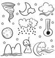 weather set doodles vector image vector image