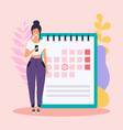 woman with phone have a calendar plan flat vector image