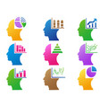 colorful business human head with statistics vector image