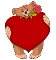 Brown bear holding heart and rose flower Greeting vector image