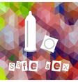 safe sex theme symbols low polygon background vector image