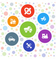 7 tire icons vector image vector image