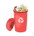 a full garbage can with waste rubbish and ecology