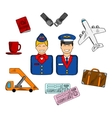 Air travel and service icons vector image vector image