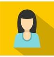 Brunette girl icon flat style vector image vector image