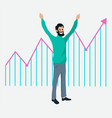 businessman and growth graph successful vector image vector image