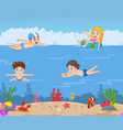 cartoon kids swimming in the tropical ocean vector image vector image