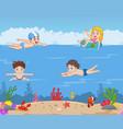 cartoon kids swimming in tropical ocean vector image vector image