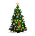 christmas pine tree with star lights and balls vector image