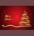 christmas tree ribbon background vector image vector image