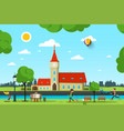 city with church river and people in park sunny vector image vector image
