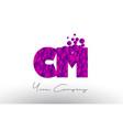 cm c m dots letter logo with purple bubbles vector image vector image