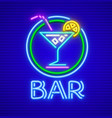 cocktail bar neon sign vector image