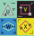 colorful line capital letters u v w and x emblems vector image vector image