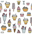 colorful seamless pattern with delicious ice cream vector image