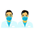 covid 19 asian doctors medical masks on people s vector image