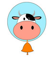 cow with bell on white background vector image
