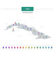 cuba map with location pointer marks infographic vector image vector image