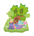 cute and little hippo character with party hat vector image