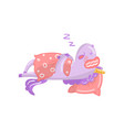 cute unicorn character sleeping on its bed funny vector image vector image