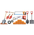 Different kinds of construction tools vector image vector image