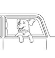 dog in car window coloring vector image
