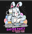 easter dj music party rabbit vector image vector image