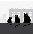 family black cats sitting on roof vector image vector image