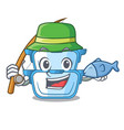 fishing cartoon double boiler for the cooking vector image