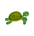 flat icon of swimming green turtle sea vector image