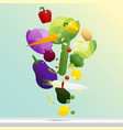 flying fresh vegetables concept healthy food vector image vector image