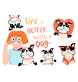 french bulldog and girl dog with quote collection vector image