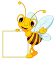 funny bee cartoon waving and holding blank sign vector image vector image
