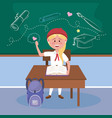 girl student with desk and book with backpack vector image vector image