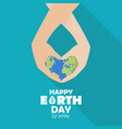 Happy earth day with hands holding earth globe