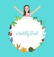 healthy food fruit vegetables girl celebrating vector image