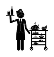 Isolated stewardess with food cart design vector image