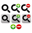 magnifier symbol icon set zoom in zoom out icons vector image