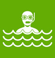 man with scuba icon green vector image vector image