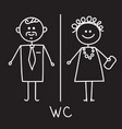 men and women wc sign on black board wc icon vector image vector image