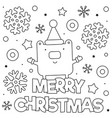 merry christmas coloring page black and white vector image vector image