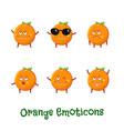 orange smiles cute cartoon emoticons emoji icons vector image vector image