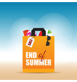 paper bag orange with end of summer on it vector image