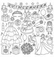 quinceanera doodle set vector image vector image