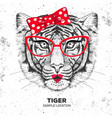 retro hipster animal tiger hand drawing muzzle vector image vector image