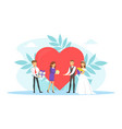 romantic couple newlyweds guests giving gifts vector image vector image