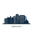 saskatoon skyline monochrome silhouette vector image vector image