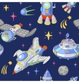 seamless space pattern planets rockets and stars vector image vector image